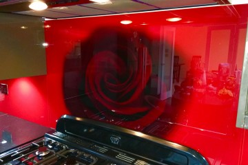 Digital Printed Splashback with Stencil Decor - Rose
